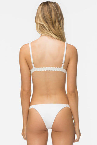 TAVIK Zeppelin Ribbed Scalloped Triangle Bikini Top - White Bikini Top | White| Tavik Zeppelin Ribbed Scalloped Triangle Bikini Top - White Fixed triangle bikini top in creamy ribbed white with scalloped band detail. This trendy ribbed white stretch swim fabric is a must-have basic in every swim wardrobe. Back View