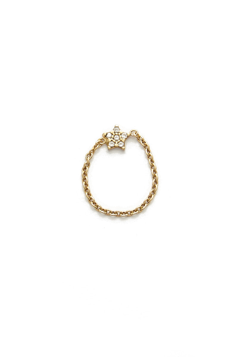 TALIA NAOMI Wish Upon A Star Chain Ring Jewelry | Yellow Gold| Talia Naomi Wish Upon A Star Chain Ring