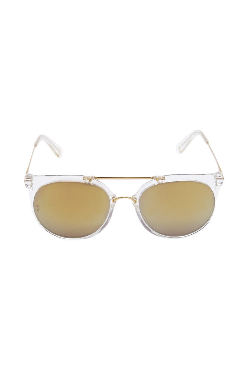 WONDERLAND SUNGLASSES Stateline Sunglasses - Clear/Gold Sunglasses | Clear and Gold| Wonderland Sunglasses Stateline