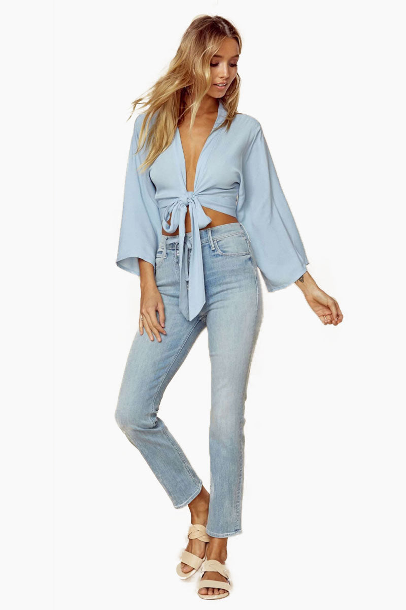 BLUE LIFE Wrapped Top - Denim Crinkle Top | Denim Crinkle| Blue Life Wrapped Top - Denim Crinkle. Features:  Deep V front Wrap style bodice Front tie closure Long kimono sleeves Made in USA Dry Clean Only 100% Rayon Front View