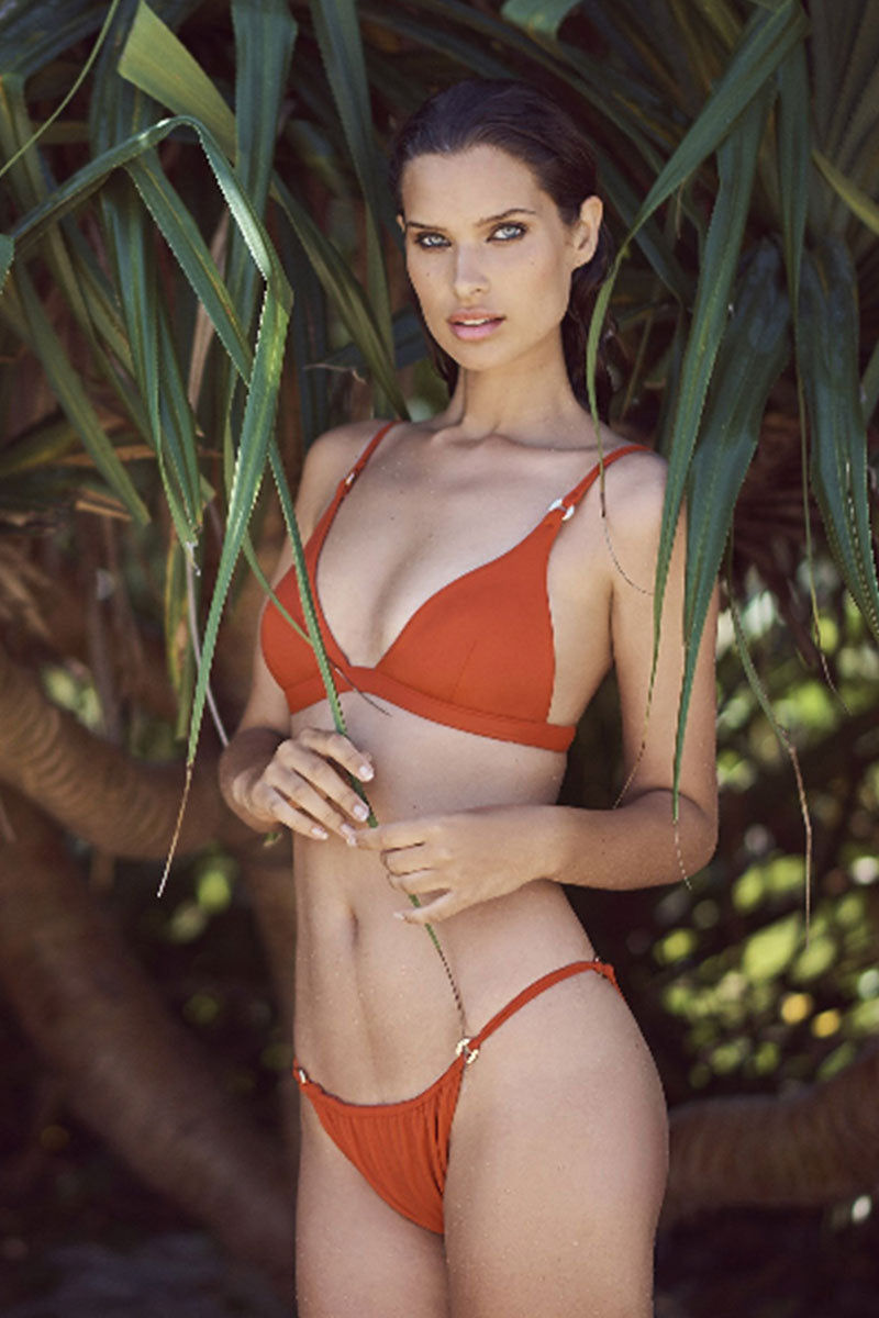 FELLA Xavier Bottom - Burnt Orange Bikini Bottom | Burnt Orange | Fella Xavier Bottom - Burnt Orange model front view