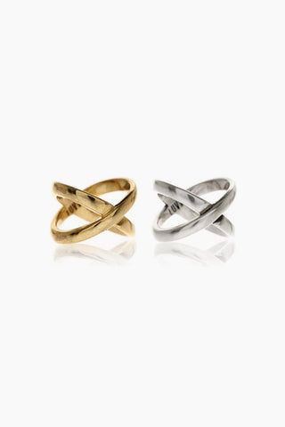 LUV AJ Xavier Rings (Set of 2) - Gold/Silver Jewelry | Xavier Rings (Set of 2) - Gold/Silver size 6 stacking criss cross band rings