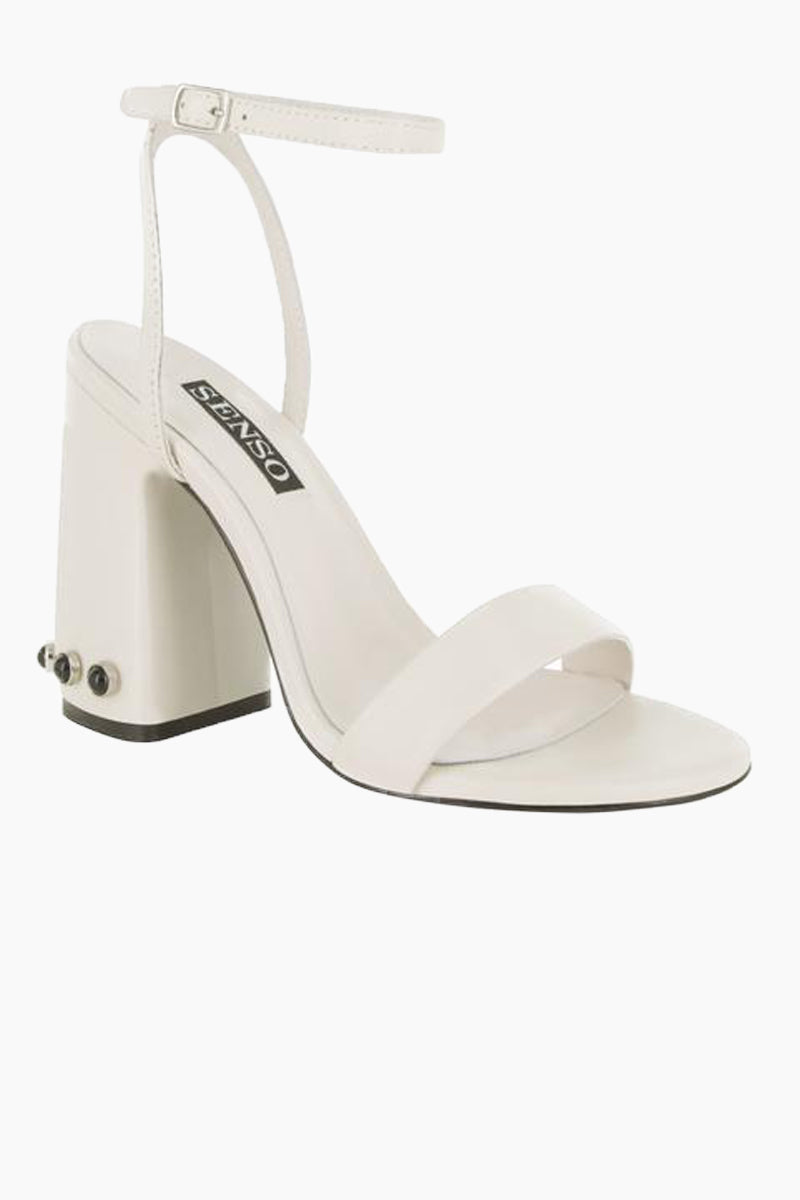 SENSO Yella Chunky Heels - Ivory Shoes | Ivory| Senso Yella Chunky Heel Sandals - Ivory. Features:  Leather heeled sandals Open Toe Stud detailing Ankle buckle fastening Square heel Front View