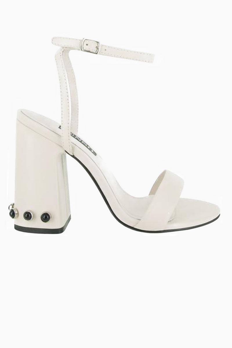 SENSO Yella Chunky Heels - Ivory White Shoes | Ivory White| Senso Yella Chunky Heel Sandals - Ivory White. Features: Leather heeled sandals Open Toe Stud detailing Ankle buckle fastening Square heel Front View