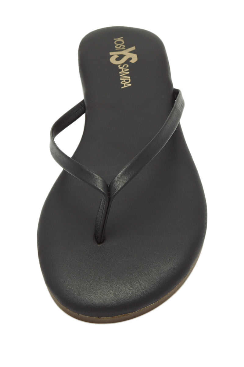 YOSI SAMRA Roee Leather Sandals - Black Sandals | Black| Yosi Samra Roee Leather Sandals - Black 100% Patented Metalic Alsina Leather Shoes typically run true to size. If you are a half size, suggest going up to the next full size.  Leather and Rubber sole Flexible foldable outsole. Cushioned footbed Thong-style construction Synthetic lining Front View