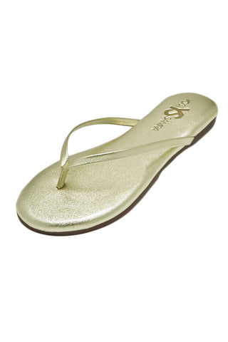 YOSI SAMRA Roee Leather Sandals - Metallic Gold Sandals | Metallic Gold| Yosi Samra Roee Leather Sandals - Metallic Gold 100% Patented Metalic Alsina Leather Shoes typically run true to size. If you are a half size, suggest going up to the next full size.  Leather and Rubber sole Flexible foldable outsole. Cushioned footbed Thong-style construction Synthetic lining Front View