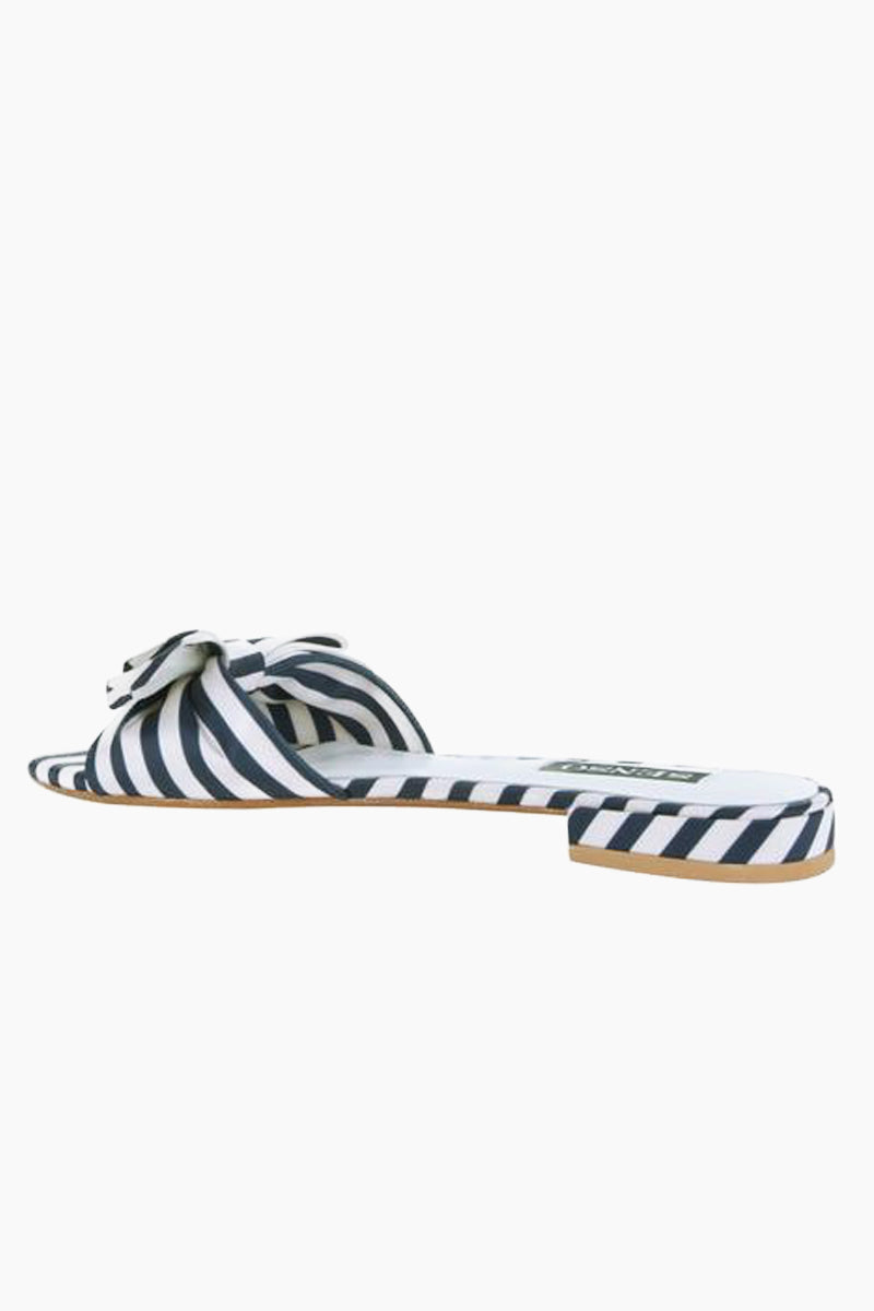 SENSO Zilda II Slides - Midnight Stripe Print Sandals | Midnight Stripe Print| Senso Zilda II Slides - Midnight Stripe Print. Features:  Navy and white Satin slides Sole: Synthetic Resin 30% Lining: Satin 40% Outer: Satin 30% Front View