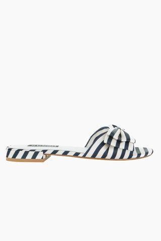 SENSO Zilda II Slides - Midnight Stripe Print Sandals | Midnight Stripe Print| Senso Zilda II Midnight Stripe Print - Midnight. Features:  Navy and white Satin slides Sole: Synthetic Resin 30% Lining: Satin 40% Outer: Satin 30% Front View
