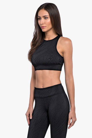 KORAL Zenith Maxen Sports Bra - Black Activewear | Black| Koral Zenith Maxen Sports Bra - Black. Features:  High neck Moderate coverage and support High performance High compression Cut-out open back Front View