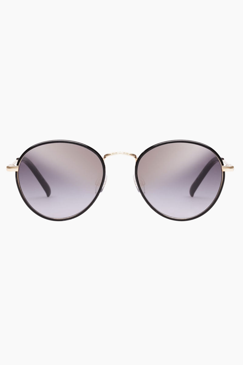 LE SPECS Zephyr Deux Sunglasses - Black Sunglasses   Black  Zephyr Deux - Le Specs Round Metal Sunglasses Semi Flat Lenses  Medium UV Protection Frame:  Black  Lens: Grad Gold Flash  Gender: Unisex Lens Width - Nose Bridge - Temple Length      52                  19                    140