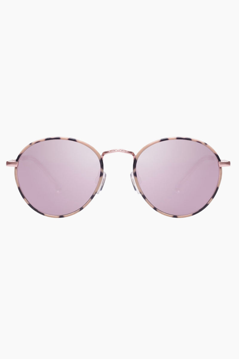 LE SPECS Zephyr Deux Sunglasses - Mist Tort/Peach Sunglasses | Mist Tort|Zephyr Deux - Le Specs Round Metal Sunglasses Semi Flat Lenses  Good UV Protection Frame:  Mist Tort  Lens: Peach Revo Mirror  Gender: Women Lens Width - Nose Bridge - Temple Length      52                  19                    140