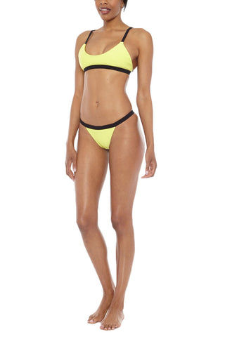 ZIGILANE Bae Watch Color Block High Cut Bikini Bottom - Yellow & Black Bikini Bottom | Yellow & Black| Bae Watch Color Block High Cut Bikini Bottom - Yellow & Black Color block Thick, lined fabric High cut Cheeky coverage 72% Microfiber Nylon, 28% Spandex Front View