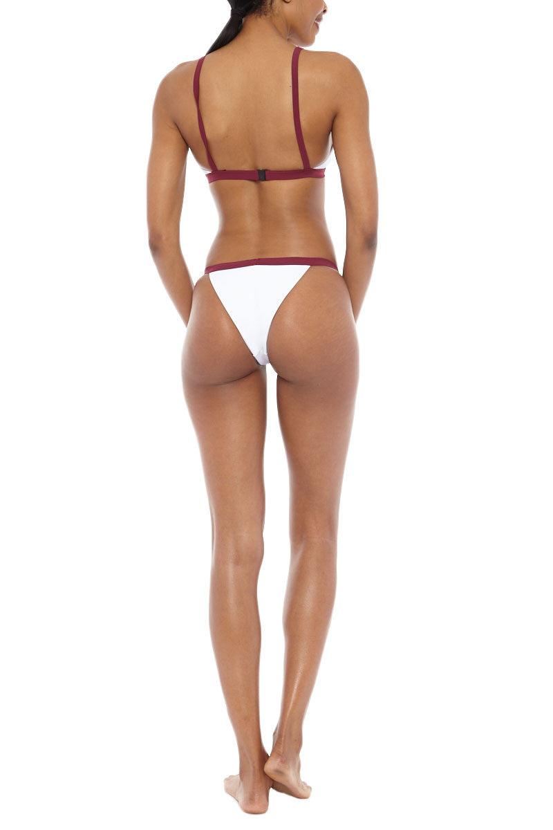 ZIGILANE Exclusive Bottom Bikini Bottom | White & Merlot|  Zigilane Exclusive Bikini Bottom