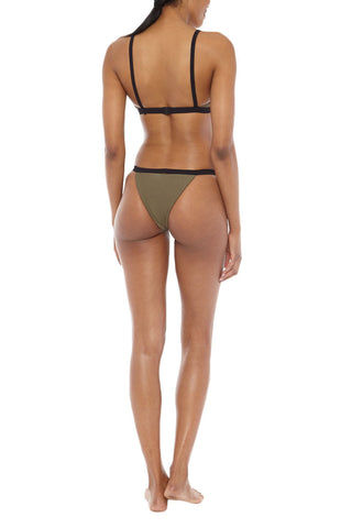 ZIGILANE HQ Color Block Bralette Bikini Top - Olive Green & Black Bikini Top | Olive Green & Black| Zigilane HQ Color Block Bralette Bikini Top - Olive Green & Black Features:  Bralette Color block Thick, lined fabric Clasps at back No padding 72% Microfiber Nylon, 28% Spandex Back View