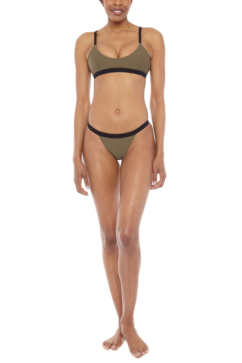 ZIGILANE HQ Color Block Bralette Bikini Top - Olive Green & Black Bikini Top | Olive Green & Black| Zigilane HQ Color Block Bralette Bikini Top - Olive Green & Black Features:  Bralette Color block Thick, lined fabric Clasps at back No padding 72% Microfiber Nylon, 28% Spandex Front View