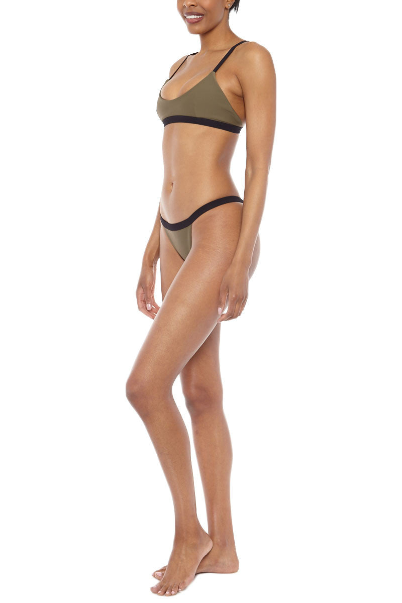 ZIGILANE HQ Color Block Bralette Bikini Top - Olive Green & Black Bikini Top | Olive Green & Black| Zigilane HQ Color Block Bralette Bikini Top - Olive Green & Black Features:  Bralette Color block Thick, lined fabric Clasps at back No padding 72% Microfiber Nylon, 28% Spandex Side View
