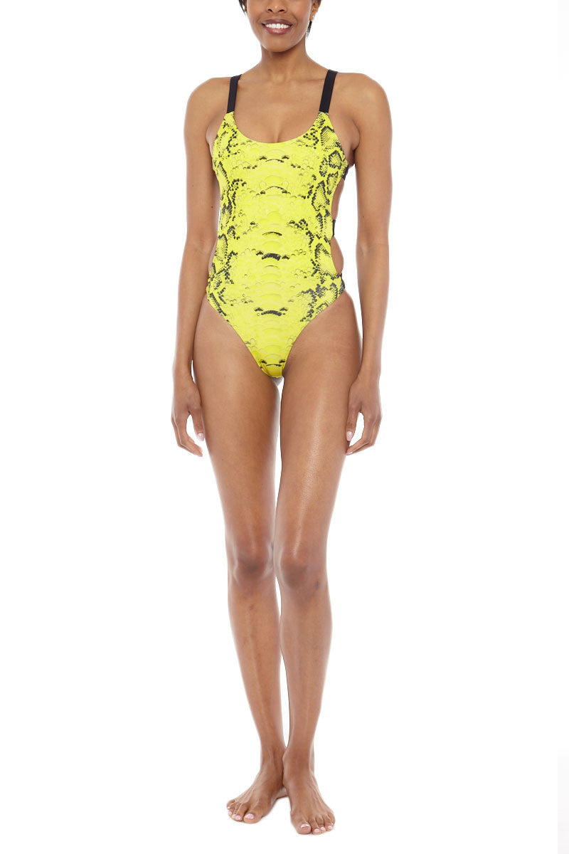 ZIGILANE Kill Bill Strappy Back One Piece Swimsuit - Yellow Snakeskin Print One Piece | Yellow Snakeskin Print| Zigilane Kill Bill Strappy Back One Piece Swimsuit - Yellow Snakeskin Print Scoop neckline Strappy back detail Thick, lined fabric High cut leg Cheeky coverage 72% Microfiber Nylon, 28% Spandex Front View