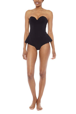 ZIGILANE The Little Black Dress Strapless Skirted One Piece Swimsuit - Black One Piece | Black| Zigilane The Little Black Dress Strapless Skirted One Piece Swimsuit - Black Strapless black one piece Sweetheart neckline Thick, lined fabric Cheeky coverage with skirt style sides 72% Microfiber Nylon, 28% Spandex Front View