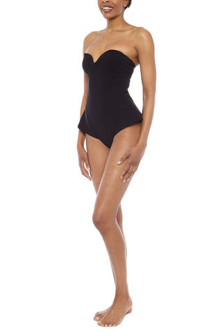 ZIGILANE The Little Black Dress Strapless Skirted One Piece Swimsuit - Black One Piece | Black| Zigilane The Little Black Dress Strapless Skirted One Piece Swimsuit - Black Strapless black one piece Sweetheart neckline Thick, lined fabric Cheeky coverage with skirt style sides 72% Microfiber Nylon, 28% Spandex Side View
