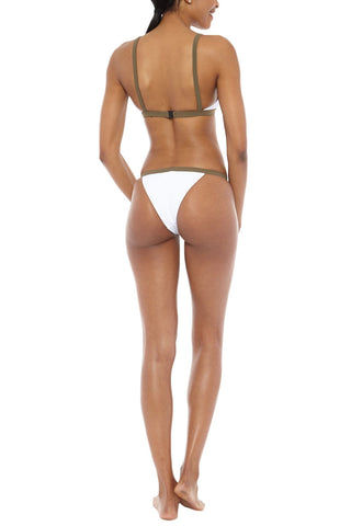 ZIGILANE Private Jet Color Block High Cut Bikini Bottom - White & Olive Green Bikini Bottom | White & Olive Green| Zigilane Private Jet Color Block High Cut Bikini Bottom - White & Olive Green Color block High cut Thick, lined fabric Cheeky coverage  72% Microfiber Nylon, 28% Spandex Back View