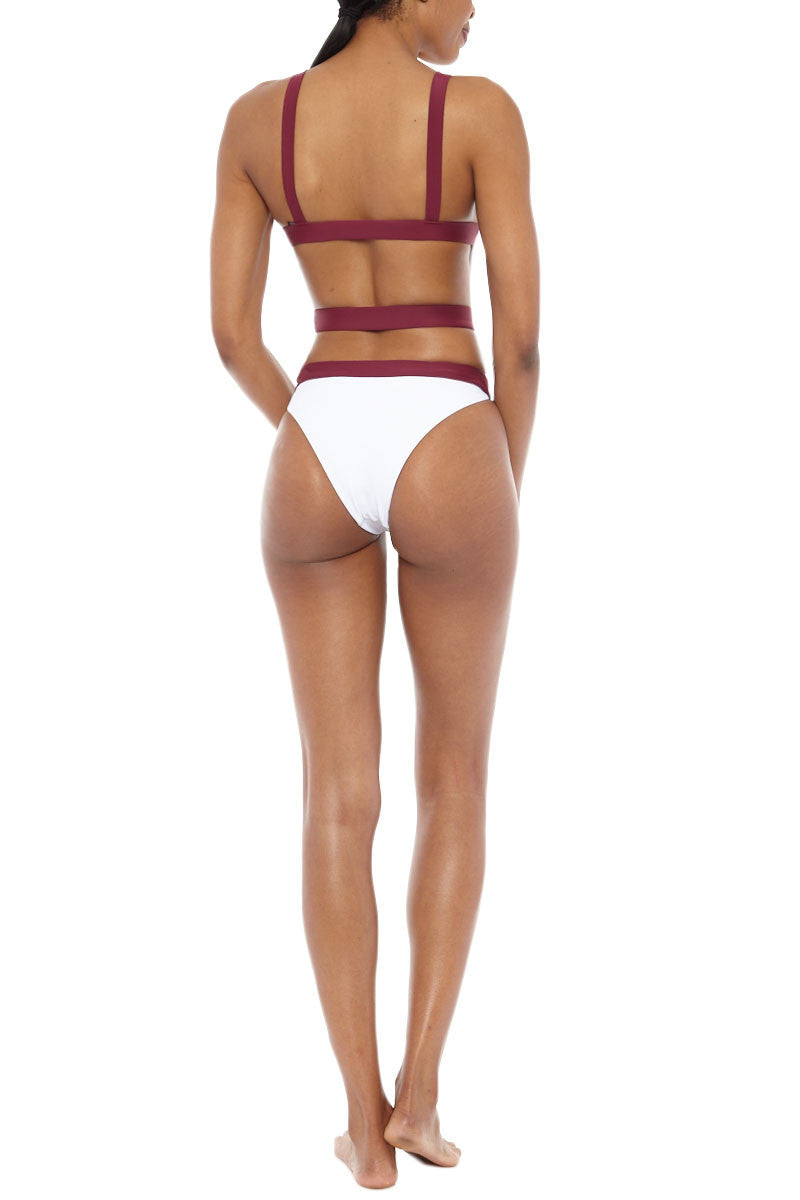 ZIGILANE Shadey Color Block Strappy Back One Piece Swimsuit - White & Merlot Red One Piece | White & Merlot Red|  Zigilane Shadey Color Block Strappy Back One Piece Swimsuit - White & Merlot Red Scoop neckline Strappy back Thick, lined fabric High cut leg Cheeky coverage No padding 72% Microfiber Nylon, 28% Spandex Back View