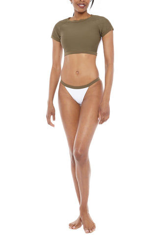 ZIGILANE Soldier Boy Crop Bikini Top - Olive Green Bikini Top | Olive Green| Zigilane Soldier Boy Crop Bikini Top - Olive Green Quilted shoulder detail Thick, lined fabric Zipper along back Crop top appropriate for swim or leisure  No padding Sheer material at back 72% Microfiber Nylon, 28% Spandex Front View