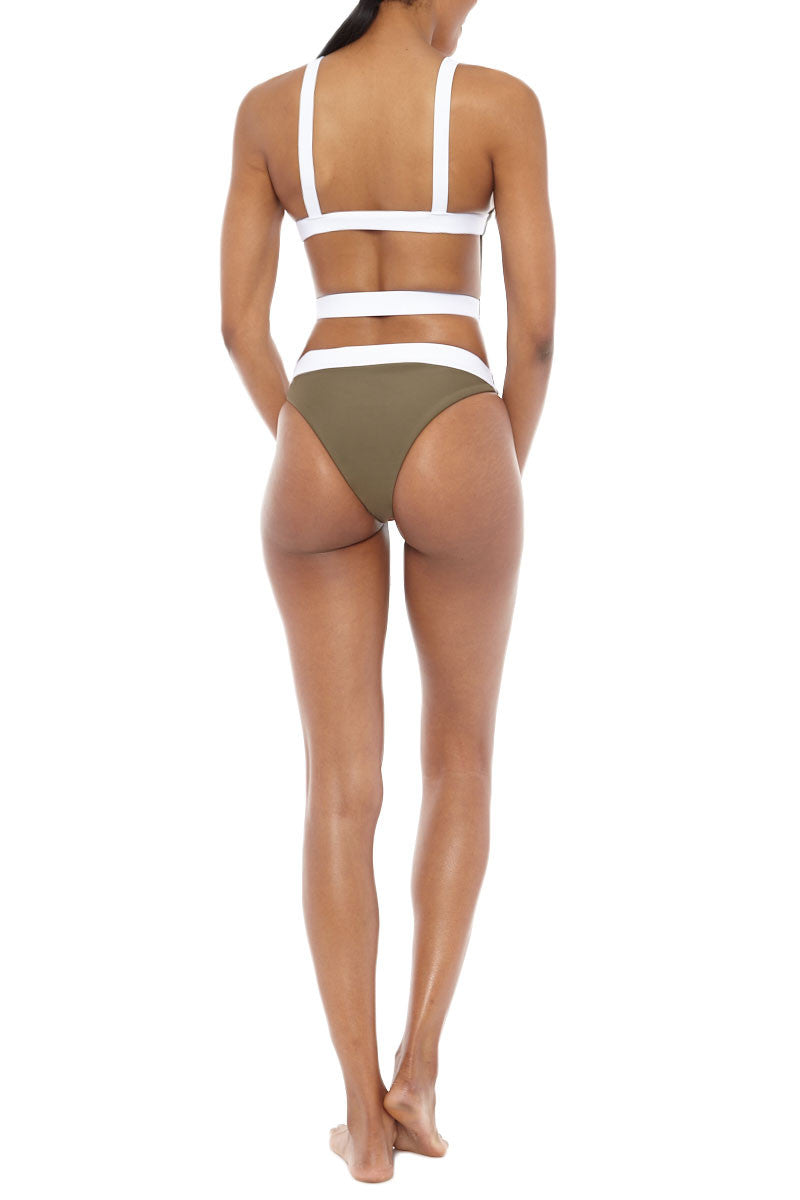 ZIGILANE Street Cred Color Block Strappy Back One Piece Swimsuit - Olive Green & White One Piece | Olive Green & White| Zigilane Street Cred Color Block Strappy Back One Piece Swimsuit - Olive Green & White Scoop neckline Strappy back No padding Thick, lined fabric High cut leg Cheeky coverage 72% Microfiber Nylon, 28% Spandex Back View