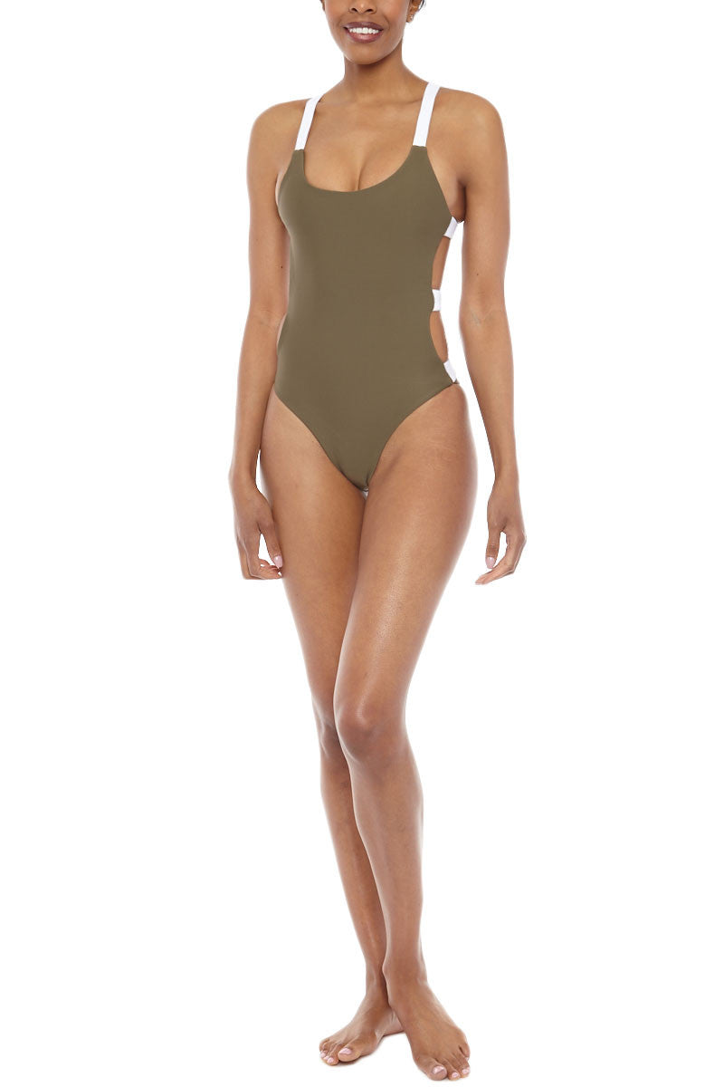 ZIGILANE Street Cred Color Block Strappy Back One Piece Swimsuit - Olive Green & White One Piece | Olive Green & White| Zigilane Street Cred Color Block Strappy Back One Piece Swimsuit - Olive Green & White Scoop neckline Strappy back No padding Thick, lined fabric High cut leg Cheeky coverage 72% Microfiber Nylon, 28% Spandex Front View