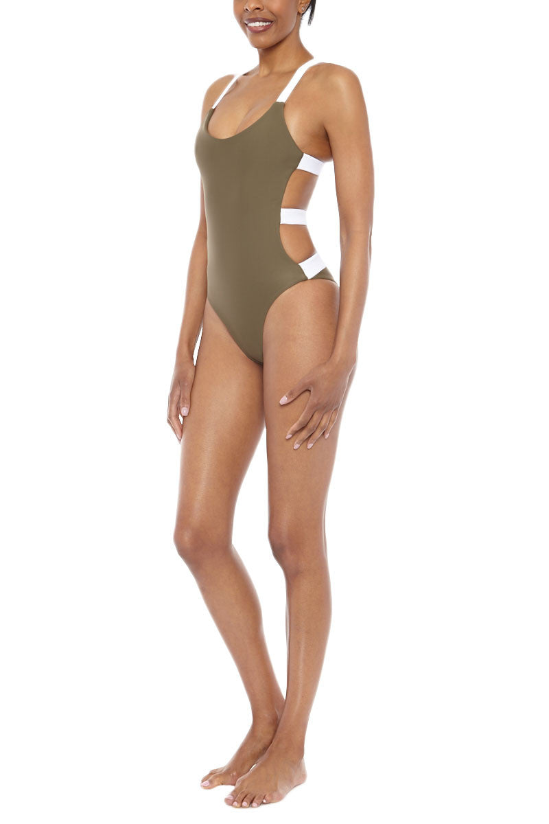 ZIGILANE Street Cred Color Block Strappy Back One Piece Swimsuit - Olive Green & White One Piece | Olive Green & White| Zigilane Street Cred Color Block Strappy Back One Piece Swimsuit - Olive Green & White Scoop neckline Strappy back No padding Thick, lined fabric High cut leg Cheeky coverage 72% Microfiber Nylon, 28% Spandex Side View