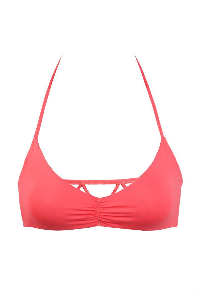 BETTINIS Reversible Zigzag Halter Top Bikini Top | Reversible Coral / Print|