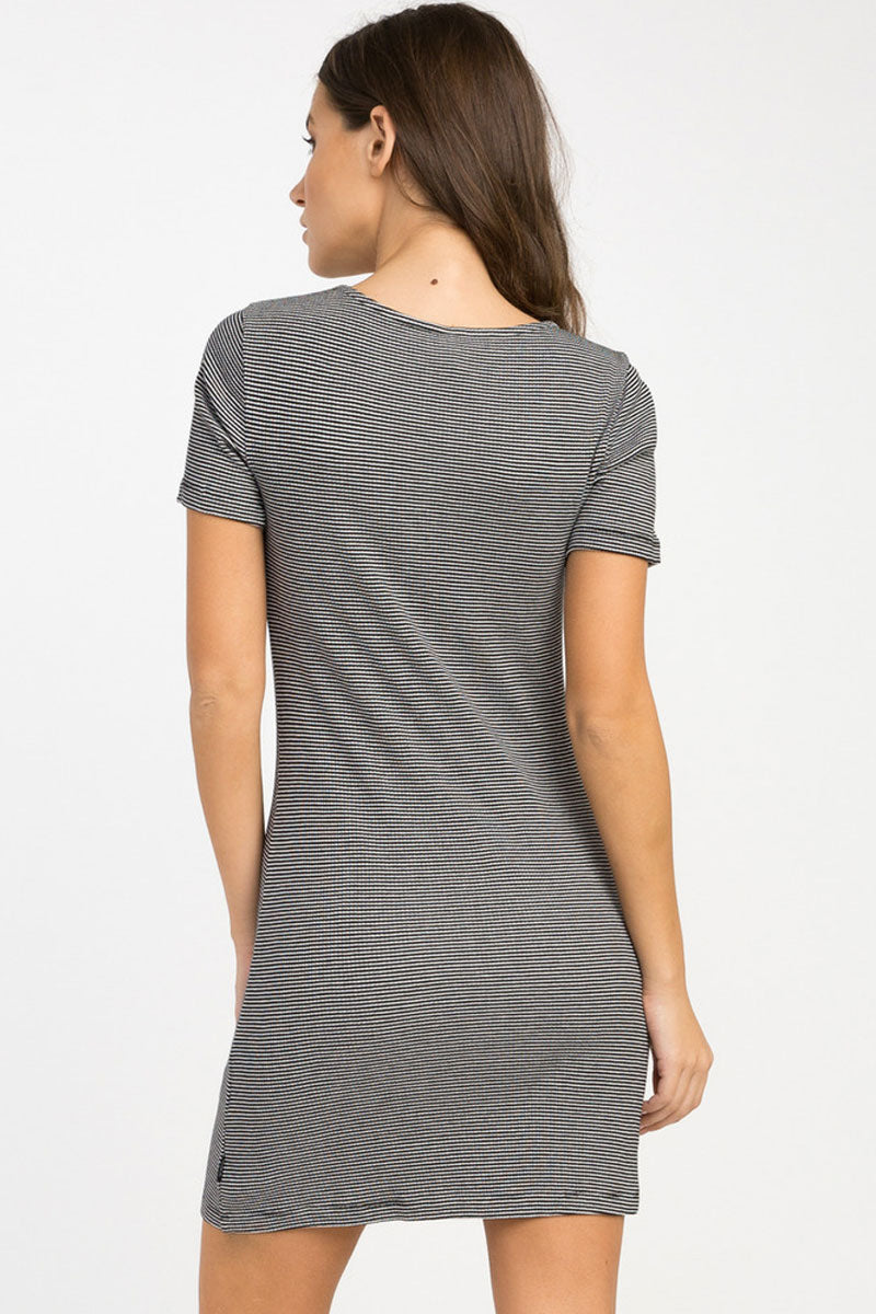 RVCA Zip It Ribbed Dress - Black Dress | Black| RVCA Zip It Ribbed Dress - Black Yarn dyed ribbed fitted dress Scoop neckline Circle pull zipper front at the bust Short sleeves Striped print throughout 91% viscose, 9% elastane Back View