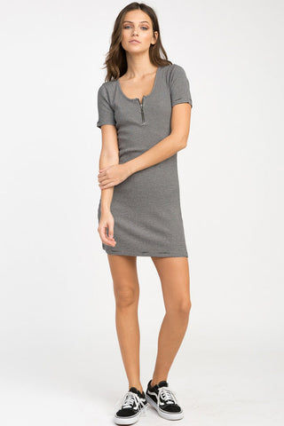 RVCA Zip It Ribbed Dress - Black Dress | Black| RVCA Zip It Ribbed Dress - Black Yarn dyed ribbed fitted dress Scoop neckline Circle pull zipper front at the bust Short sleeves Striped print throughout 91% viscose, 9% elastane Front View