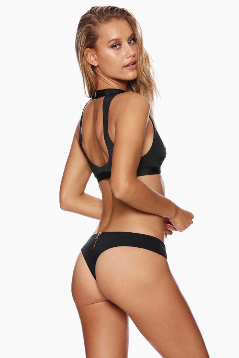 BEACH BUNNY Zoey High Neck Bikini Top - Black Bikini Top | Black| Beach Bunny Zoey High Neck Bikini Top - Black Zip up front detail Plunging  v-neck Choker detail with hook closure Open back cut out  Back View