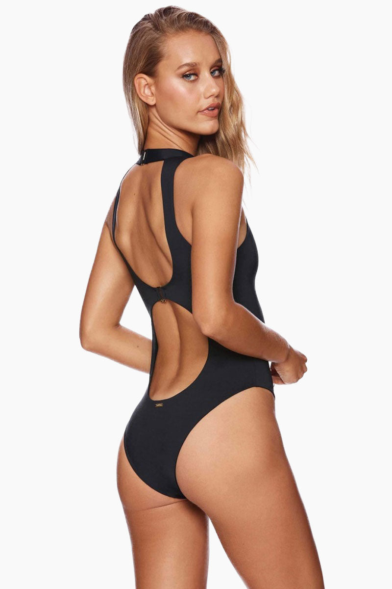 BEACH BUNNY Zoey Zip Up One Piece Swimsuit - Black One Piece | Black| Beach Bunny Zoey Zip Up One Piece Swimsuit - Black Zip up front detail Plunging  v-neck Choker detail with hook closure High cut leg Skimpy coverage Back View