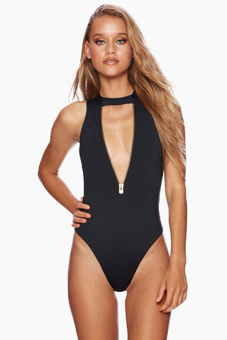 BEACH BUNNY Zoey Zip Up One Piece Swimsuit - Black One Piece | Black| Beach Bunny Zoey Zip Up One Piece Swimsuit - Black Zip up front detail Plunging  v-neck Choker detail with hook closure High cut leg Skimpy coverage Front View