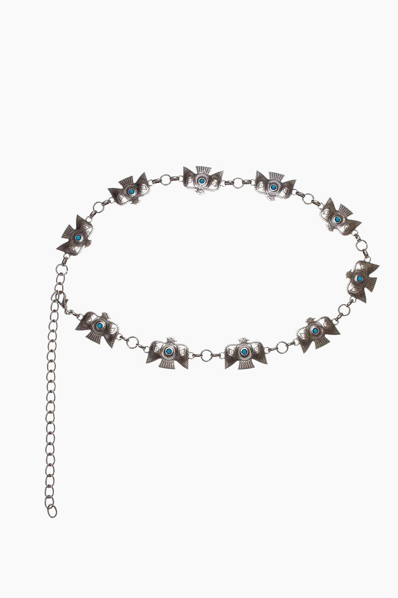 LOVESTRENGTH Zuni Metal Belt - Silver Accessories | Silver| Love Strength Zuni Metal Belt - Silver. Features: Antique brass thunderbird conchos and turquoise stones Import Front View