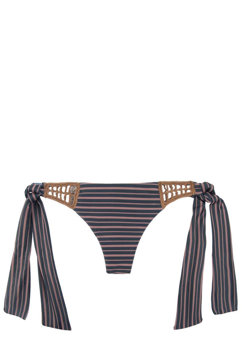 ACACIA Anini Crochet Side Tie Brazilian Bikini Bottom - Dark Classic Navy/Pink Bikini Bottom | Dark Classic| Acacia Anini Skimpy Bikini Bottom