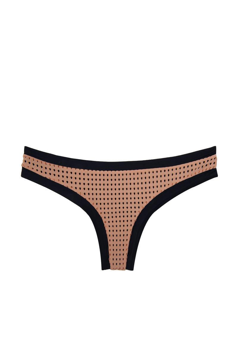 ACACIA Sao Paulo Color Block Mesh Bikini Bottom - Topless Tan/Black Bikini Bottom | Topless Tan/Black | Acacia Sao Paulo Color Block Mesh Bikini Bottom - Topless Tan/Black  Mesh overlay Cheeky coverage Fully lined Imported Italian Nylon/Spandex Front View