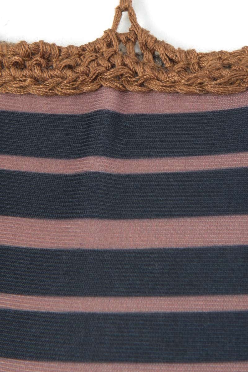ACACIA Secrets Crochet Halter Bikini Top - Dark Classic Stripe Print Bikini Top | Dark Classic Stripe Print| Acacia Secrets Crochet Halter Bikini Top - Dark Classic Stripe Print Sliding triangle cups Ties at neck and back Crochet details Imported Italian Nylon/Spandex Front View