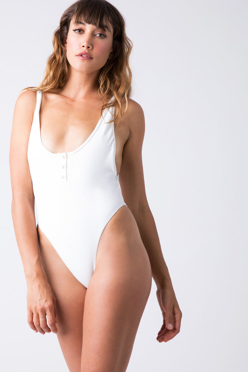 59b6ee9a1b ... FRANKIES BIKINIS Adele Ribbed Scoop High Cut One Piece Swimsuit - White  One Piece | White ...