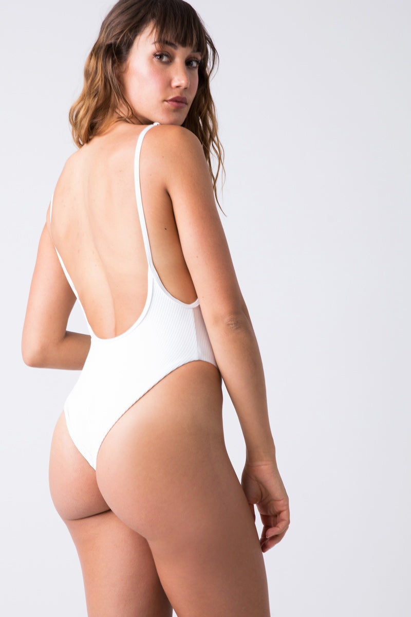 FRANKIES BIKINIS Adele One Piece - White One Piece   White Adele One Piece - White high cut ribbed one piece swimsuit with a low back scoop