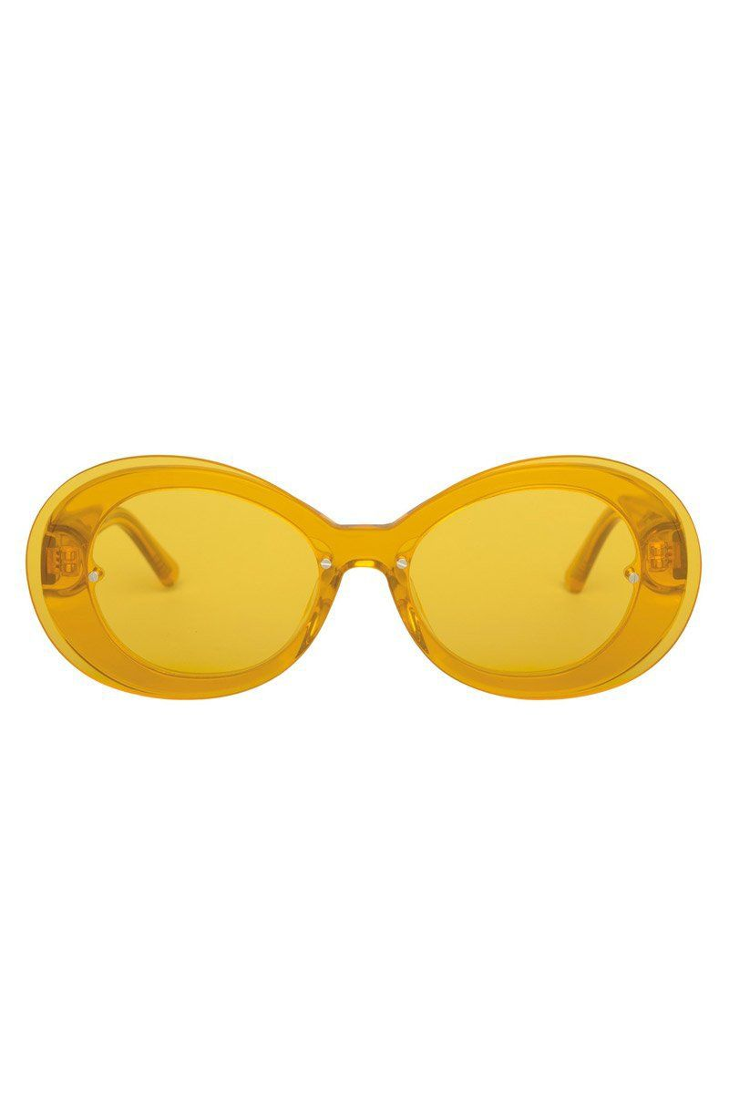 BONNIE CLYDE The Ai-Ren Sunglasses - Daffodillionaire Yellow Sunglasses | Daffodillionaire Yellow| Front View of Bonnie Clyde Ai-Ren Sunglasses in Daffodillionaire Yellow .This style goes particularly well with Heart, Square, Oval, & Oblong faces. Features: Oversize Lens  Lens Type: Grade A Nylon Fit Size: Small-Medium  Frame Color: Clear Yellow Lens Color: Yellow Tint Unisexual   100% UV Protection   Glare reduction   Scratch-resistant coating Made from Stainless Steel & Acetate