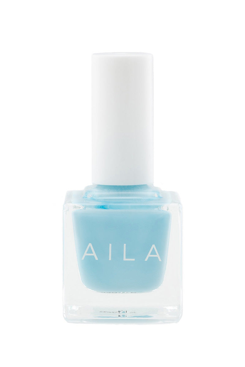 AILA COSMETICS Nail Polish - Blue Lagoon Nails | Blue Lagoon| Aila Cosmetics Nail Polish - Blue Lagoon Chip-resistant non-toxic shiny nail lacquer in bright beachy blue color. The long-lasting nail polish is vegan, cruelty-free, gluten-free, and made without parabens, sulfates, formaldehyde, and all other toxins traditionally found in nail care products. Front View