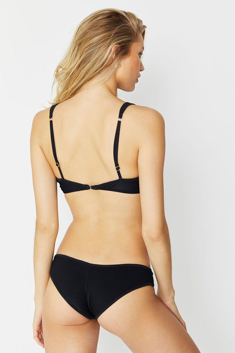 FRANKIES BIKINIS Alana Top - Black Bikini Top | Black| Alana Top Back View Black Henley Inspired Bikini Top Rose Gold Button Front Detail Luxe Ribbed Stretch Fit Fabric Adjustable Wide Shoulder Straps Thin Back Band Bra Hook Closure