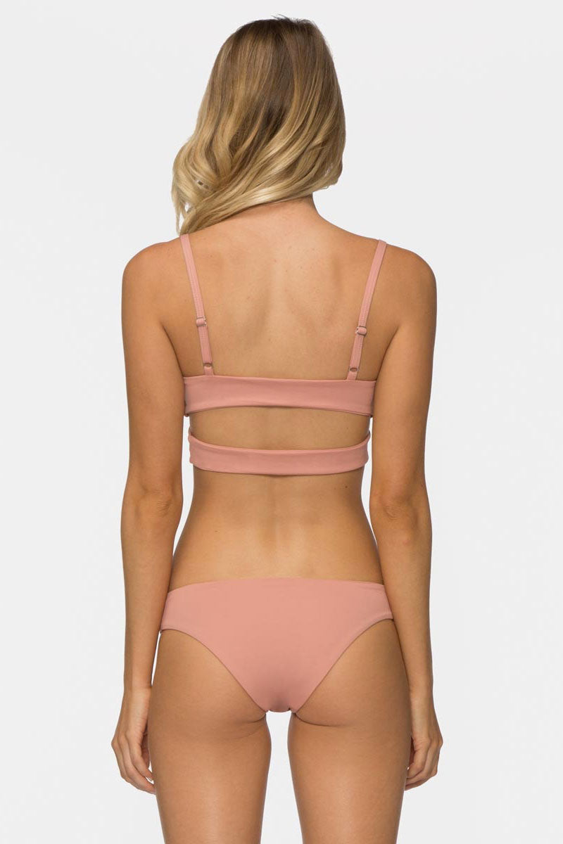 TAVIK Ali Bikini Bottom - Rose Dawn Bikini Bottom | Rose Dawn|Ali Bikini Bottom Side View - FEATURES:  Textured fabric Stretch fit Moderate Coverage Classic bikini bottom