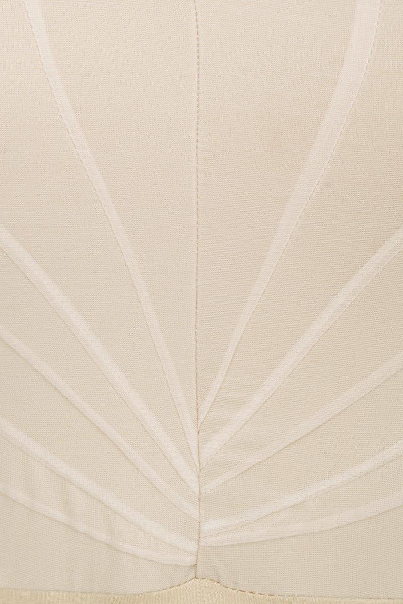 AMAIO SWIM Bardot Strapless Mesh Pleating One Piece Swimsuit - Beige One Piece   Beige  AAmaio Swim Bardot Strapless Mesh Pleating One Piece Swimsuit - BeigeFeatures:  Strapless one-piece Mesh pleating Invisible zipper Mini hook Underwire Medium coverage Hand wash 85% Nylon, 15% Elastane  Front View
