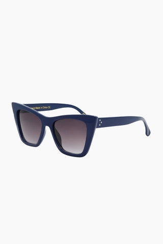 I-SEA Ashbury Sunglasses - Cobalt Sunglasses | Cobalt| I-Sea Ashbury Sunglasses - Cobalt Oversized Sunglasses Frame Color: Cobalt Lens Color: Smoke  Side View