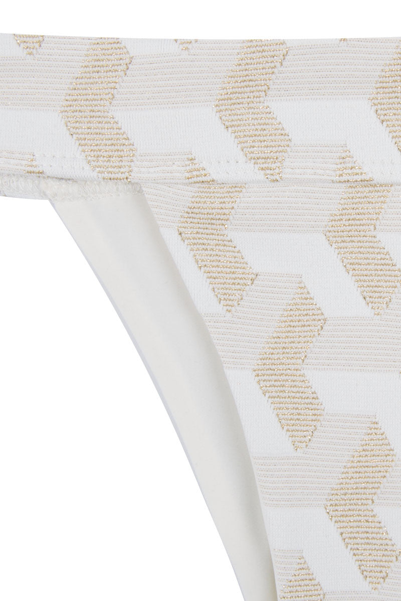 HOUSE OF AU+ORA Fame Thick Waistband Moderate Bikini Bottom - White & Gold Bikini Bottom   White & Gold 