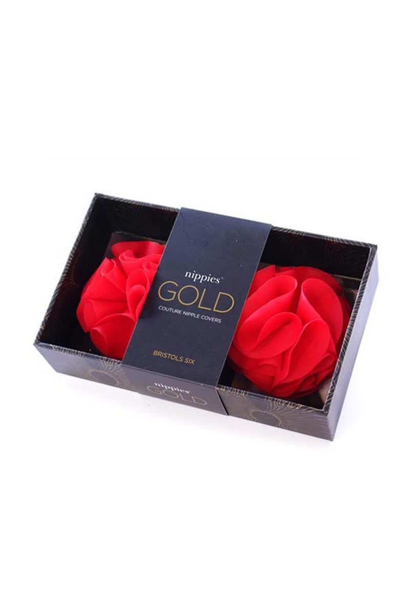 BRISTOLS SIX Gold Couture Rosette Tassels - Scarlet Red Accessories   Scarlet Red  Nippies Gold Couture Rosette Tassels - Scarlet RedRed Silk Rosette Tassels  Backed With Custom Reusable Adhesive Packaged In A Quality Case For Storage Washable and Reusable Front View