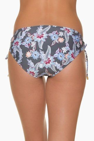 HELEN JON Tunnel Side Hipster Bikini Bottom - Rhapsody Floral Print Bikini Bottom | Rhapsody Floral Print| Helen Jon Tunnel Side Hipster Bikini Bottom - Rhapsody Floral Print Classic low-rise hipster bikini bottom in a grey multicolor floral print. Tie Sides with golden beads. full coverage  Back View